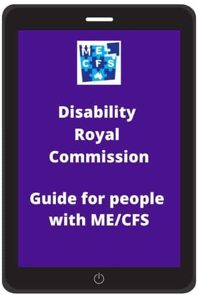tablet showing Disability Royal Commission guide for ME CFS